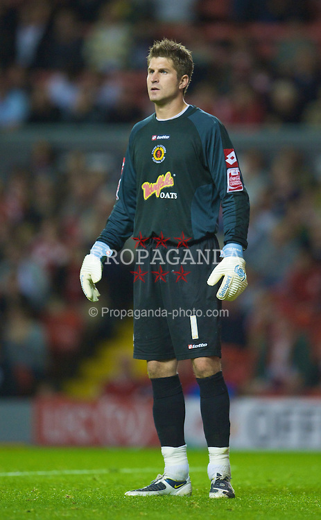 LIVERPOOL, ENGLAND - Tuesday, September 23, 2008: Crewe Alexandra's goalkeeper Steve Collis in action against Liverpool during the League Cup 3rd round match at Anfield. (Photo by David Rawcliffe/Propaganda)