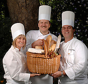 Chefs (l-r) Josie LeBalch, Bruno Lopez and Christian Monchatre are members of Club Culinaire who will be hosting the Picnic des Chefs on June 3. Photograph taken in Beverly Hills, California on May 3, 2007. (John McCoy/Staff Photographer)