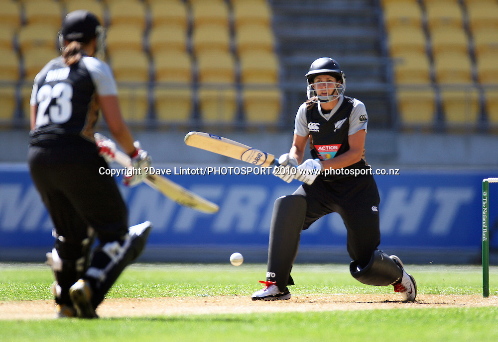 NZ batters Suse Bates (left) and Sara McGlashan.<br /> Women's International Twenty20 cricket match - New Zealand White Ferns v Australia Southern Stars at Westpac Stadium, Wellington. Friday, 26 February 2010. Photo: Dave Lintott/PHOTOSPORT