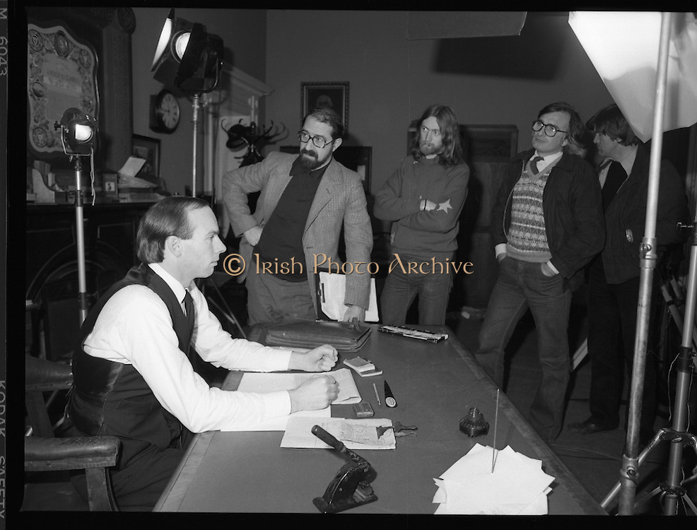 Patrick Pearse a film by Louis Marcus.    (N6)..1979..13.12.1979..12.13.1979..13th December 1979..A film on the Irish Patriot,Patrick was made by the Director, Louis Marcus.The film was to mark the centenary of Patrick Pearse's birth. The lead role was taken by renowned actor John Kavanagh.Others involved in the production were, Andy O'Mahoney, Niall Tobín,Denis Brennan and Derek Lord..Ready to roll, Director Louis Marcus checks that all is ready before the cameras roll.