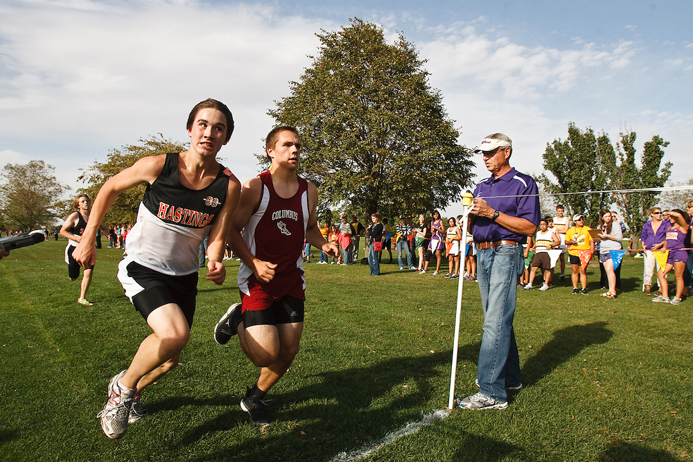 Hastings' Jack Foreman and Columbus' Alex Haefner fight to the finish in Thursday's Grand Island invite at Indian Head Golf Club. Haefner would finish before Foreman with a time of 19:09.32. (Independent/Matt Dixon)