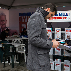 A Yes information tent featuring the photo of Binali Yildirim, prime minister of Turkey, in the Istanbul district of Kadikoy on March 12, 2017.<br /> On April 16, 2017, Turkish citizens will vote on proposed changes on the constitution that could replace the current parliamentary government system with a presidential one.