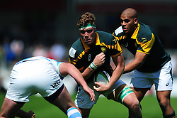Cobus Wiese of South Africa U20 takes on the Argentina U20 defence - Mandatory byline: Patrick Khachfe/JMP - 07966 386802 - 25/06/2016 - RUGBY UNION - AJ Bell Stadium - Manchester, England - Argentina U20 v South Africa U20 - World Rugby U20 Championship 2016 3rd Place Play-Off.