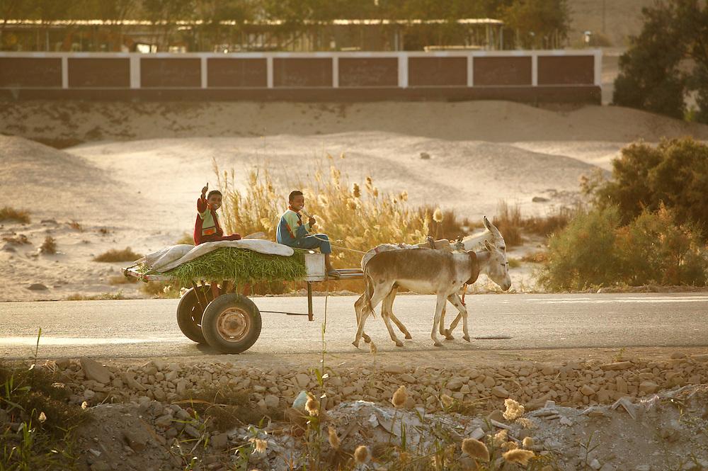 Sett fra et togvindu på en reise gjennom Nildalen.