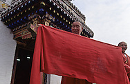 Mongolia. Erden Zuu monastery (Karakorum) Maidar procession; Buddhist ceremony. Erdeni Zuu (16th century) at Qaraqorin).  /  Procession boudhiste du Maidar.  (Monastère de Erdeni Zuu à Qaraqorin (Karakorum) Mongolie ), /  9       P0002529