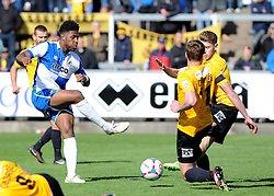 A shot from Bristol Rovers' Ellis Harrison is blocked - Photo mandatory by-line: Neil Brookman/JMP - Mobile: 07966 386802 - 11/04/2015 - SPORT - Football - Bristol - Memorial Stadium - Bristol Rovers v Southport - Vanarama Football Conference