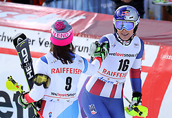 26.01.2018, Lenzerheide, SUI, FIS Weltcup Ski Alpin, Lenzerheide, Alpine Kombination, Damen, im Bild Lindsey Vonn, Wendy Holdener // Lindsey Vonn, Wendy Holdener reacts after the Slalom competition for the ladie's Alpine combination of the FIS ski alpine world cup in in Lenzerheide, Austria on 2018/01/26. EXPA Pictures © 2018, PhotoCredit: EXPA/ Sammy Minkoff<br /> <br /> *****ATTENTION - OUT of GER*****