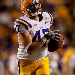 Sep 25, 2010; Baton Rouge, LA, USA;LSU Tigers tight end Tyler Edwards (47)during warms ups prior to a game against the West Virginia Mountaineers at Tiger Stadium.  Mandatory Credit: Derick E. Hingle