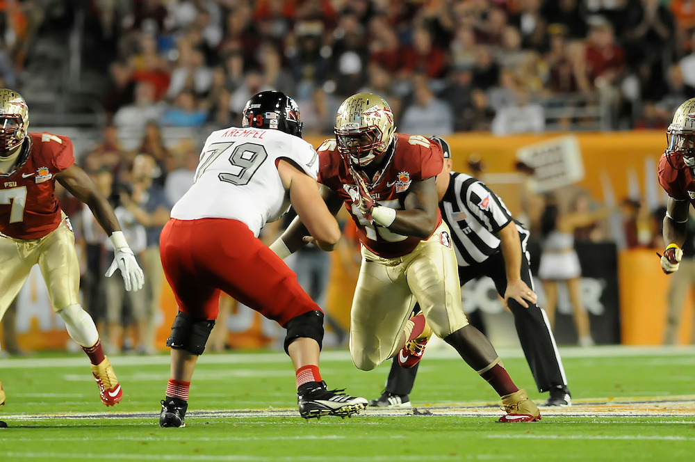 January 1, 2013: Mario Edwards, Jr. #15 of Florida State in action during the NCAA football game between the Northern Illinois Huskies and the Florida State Seminoles at the 2013 Orange Bowl in Miami Gardens, Florida. The Seminoles defeated the Huskies 31-10.
