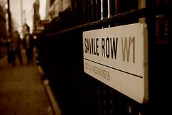 UK ENGLAND LONDON 30JAN09 - Saville Row street sign and tailor's shopwindow in Saville Row, central London. Established in 1849, the Huntsman has been located at the legentary Saville Row since 1919...jre/Photo by Jiri Rezac..© Jiri Rezac 2009