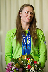 Tina Maze of Slovenia, 2-times gold winner during reception at arrival from Sochi Winter Olympic Games 2014 on February 23, 2014 in Airport Zagreb, Croatia. Photo by Vid Ponikvar / Sportida