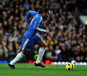 Didier Drogba in action during the Barclays Premier League match between Chelsea and Liverpool at Stamford Bridge on February 6, 2011 in London, England.
