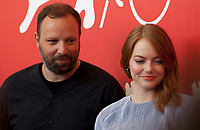 Director Yorgos Lanthimos and Emma Stone at the photocall for the film The Favourite at the 75th Venice Film Festival, on Thursday 30th August 2018, Venice Lido, Italy.