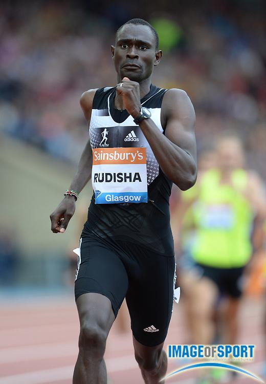 Jul 12, 2014; Glasgow, Scotland; David Rudisha (KEN) wins the 800m in 1:43.34 in the 2014 Sainsbury's Glasgow Grand Prix at Hampden Park Stadium. Photo by Jiro Mochizuki