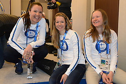 February 8, 2018 - Pyeonchang, Republic of Korea - KERTTU NISKANEN , LAURA MONONEN and JOHANNA MATINTALO of the Finnish cross country ski team after a press conference prior to the start of the 2018 Olympic Games (Credit Image: © Christopher Levy via ZUMA Wire)