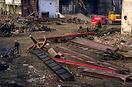 Demolition of a steel and engineering works in Sheffield ....
