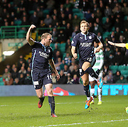 David Clarkson celebrates after becoming the first player ever to score in the first seven games of his Dundee career - Celtic v Dundee, SPFL Premiership at Celtic Park<br /> <br />  - &copy; David Young - www.davidyoungphoto.co.uk - email: davidyoungphoto@gmail.com