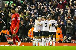 Tottenham Hotspur's Harry Kane celebrates after scoring the equaliser for 1-1 - Photo mandatory by-line: Matt McNulty/JMP - Mobile: 07966 386802 - 10/02/2015 - SPORT - Football - Liverpool - Anfield - Liverpool v Tottenham Hotspur - Barclays Premier League