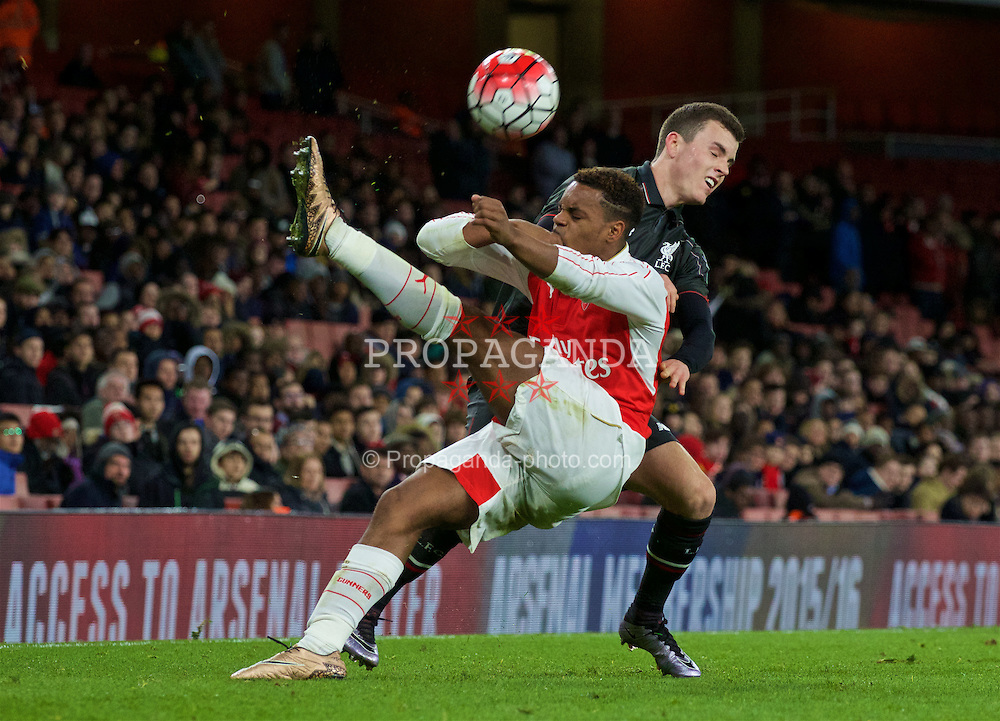 LONDON, ENGLAND - Friday, March 4, 2016: Liverpool's Brooks Lennon in action against Arsenal's Tyrell Robinson during the FA Youth Cup 6th Round match at the Emirates Stadium. (Pic by Paul Marriott/Propaganda)