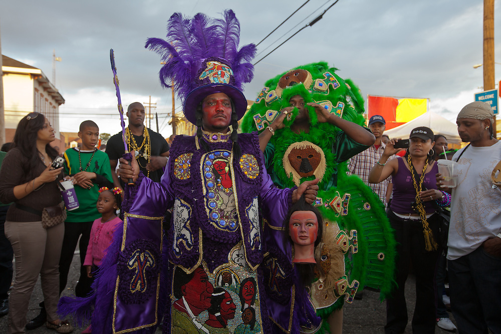 February 21, 2012, Mardi Gras Day New Orleans Mardi Gras Indians wearing intricate hand sewn costumes with feathers and beads  gather to celebrate Mardi Gras Day in a a tradition dating back to slavery.