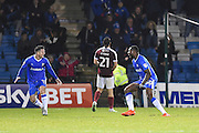 Gillingham forward Jay Emmanuel-Thomas (50) scores a goal and celebrates (2-1) during the EFL Sky Bet League 1 match between Gillingham and Northampton Town at the MEMS Priestfield Stadium, Gillingham, England on 12 November 2016. Photo by Martin Cole.