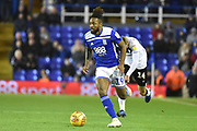 Birmingham City midfielder Jacques Maghoma (19) sprints forward with the ball during the EFL Sky Bet Championship match between Birmingham City and Bristol City at St Andrews, Birmingham, England on 8 December 2018.