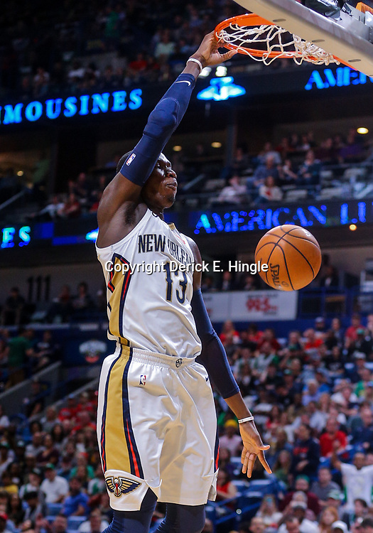 Mar 18, 2018; New Orleans, LA, USA; New Orleans Pelicans forward Cheick Diallo (13) dunks against the Boston Celtics during the second quarter at the Smoothie King Center. Mandatory Credit: Derick E. Hingle-USA TODAY Sports