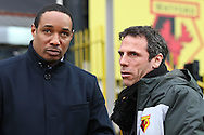 Picture by David Horn/Focus Images Ltd +44 7545 970036.09/03/2013.Gianfranco Zola , Head Coach of Watford (right).and Paul Ince , Manager of Blackpool (left) before the npower Championship match at Vicarage Road, Watford.