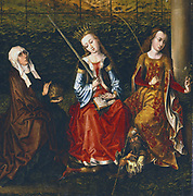 Master of view of Sainte Gudule (15th century). St Elizabeth of Hungary (1207-31), St Catherine of Alexandria (d.307)), St Rosalie (13th century) of Padua receiving rose from the Virgin. Emperor Maximus who put Catherine to death.  Oil on wood. Private collection.