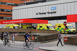 © Licensed to London News Pictures. 14/08/2018. London, UK. Ambulances outside St Thomas's hospital in Westminster after a car crashed into security barriers in Parliament Square. Photo credit: Rob Pinney/LNP