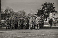 LA VALBONNE, FRANCE - MARCH 13: National day of the reservist 2015<br /> The code of the defense plans a national day of the reservist, which is organized once a year. In 2015, the theme will be: &quot; reservists: the most diverse skills of the Nation for its army &quot;<br /> For now, La Valbonne military camp, near Lyon, is open to reservists. <br /> There are 2 sorts of reservists:  the &quot;reservistes citoyens&quot; (citizens reservists) and the operational reservists.<br /> During the National Reservists Day, members of French Reserve, students of IDRAC and manufacturers from Defense sector meet soldiers from 68th African Artillery regiment at La Valbonne military camp.