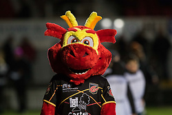 Dragons mascot Rodney during the pre match warm up<br /> <br /> Photographer Simon King/Replay Images<br /> <br /> Guinness PRO14 Round 14 - Dragons v Glasgow Warriors - Friday 9th February 2018 - Rodney Parade - Newport<br /> <br /> World Copyright © Replay Images . All rights reserved. info@replayimages.co.uk - http://replayimages.co.uk