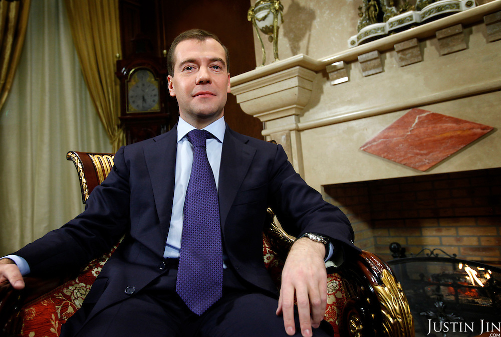 Portrait of Russian President Dmitri Medvedev at his official residence in Moscow.