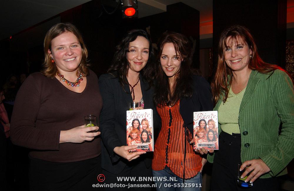 Presentatie Het boek van Finette, vlnr, ?, Sabine van den Eynden, Alwin Tulner en Mareitte Ciggaar