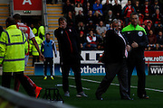 Rotherham Manger Steve Evans is angry with the linesman with Jordan Bowery's sending off during the Sky Bet Championship match between Rotherham United and Middlesbrough at the New York Stadium, Rotherham, England on 1 November 2014.