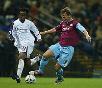Photo: Aidan Ellis.<br /> Bolton Wanderers v West Ham Utd. Carling Cup.<br /> 26/10/2005.<br /> West Ham's Teddy Sheringham and Bolton's Ricardo Gardener