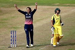 Jenny Gunn of England Women celebrates taking the wicket of Ashleigh Gardner of Australia Women - Mandatory by-line: Robbie Stephenson/JMP - 09/07/2017 - CRICKET - Bristol County Ground - Bristol, United Kingdom - England v Australia - ICC Women's World Cup match 19