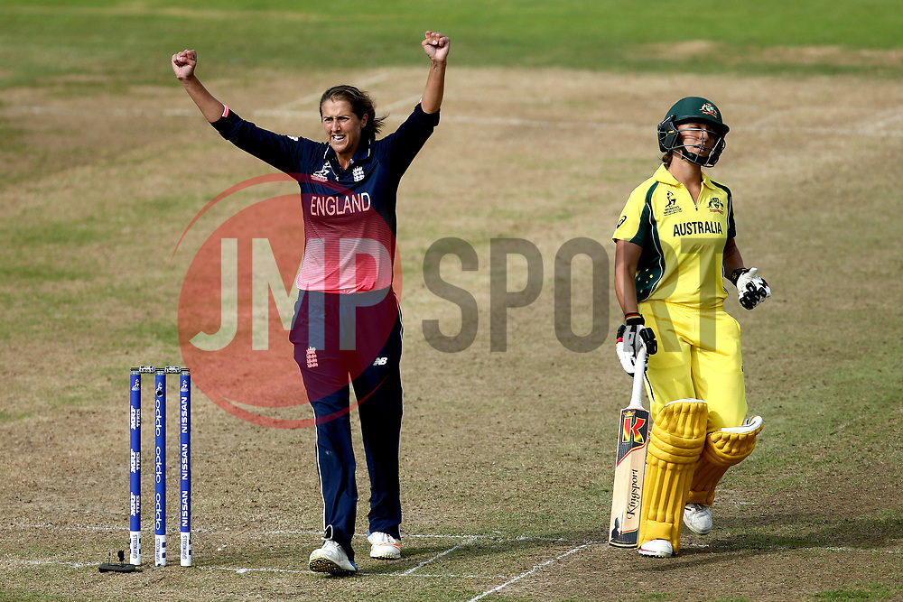 Jenny Gunn of England Women celebrates taking the wicket of Ashleigh Gardner of Australia Women - Mandatory by-line: Robbie Stephenson/JMP - 09/07/2017 - CRICKET - Bristol County Ground - Bristol, United Kingdom - England v Australia - ICC Women's World Cup match 19