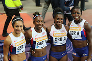 Great Britains Womens 4x100m Relay Team during the Sainsbury's Anniversary Games at the Queen Elizabeth II Olympic Park, London, United Kingdom on 24 July 2015. Photo by Ellie Hoad.
