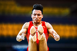October 29, 2018 - Doha, Qatar - Shudi Deng of  China   during  Floor, Team final for Men at the Aspire Dome in Doha, Qatar, Artistic FIG Gymnastics World Championships on October 29, 2018. (Credit Image: © Ulrik Pedersen/NurPhoto via ZUMA Press)