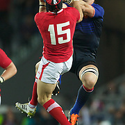 Imanol Harinordoquy, France, challenges Leigh Halfpenny, Wales, for a high ball during the Wales V France Semi Final match at the IRB Rugby World Cup tournament, Eden Park, Auckland, New Zealand, 15th October 2011. Photo Tim Clayton...