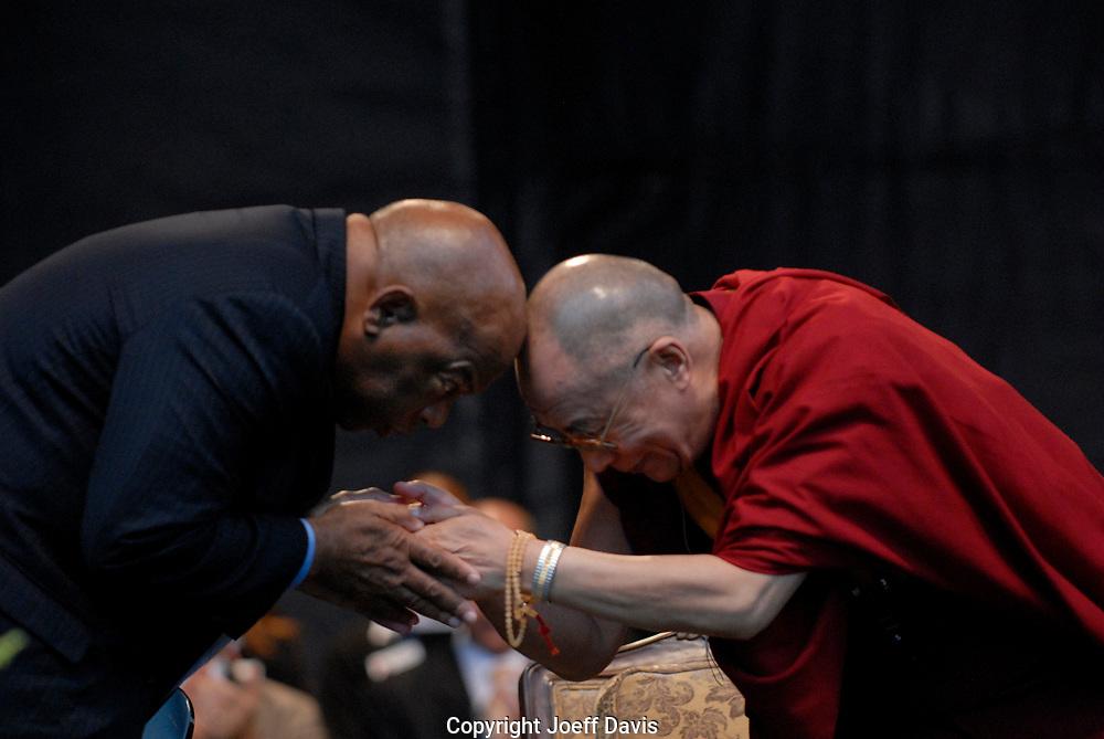 ATLANTA, GA-OCT 22, 2007: His Holiness the Dalai Lama bumps heads with Civil Rights hero, Representative John Lewis (D - GA) at Centennial Olympic Park in downtown Atlanta.