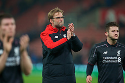 STOKE-ON-TRENT, ENGLAND - Tuesday, January 5, 2016: Liverpool's manager Jürgen Klopp celebrates after his side's 1-0 victory over Stoke City during the Football League Cup Semi-Final 1st Leg match at the Britannia Stadium. (Pic by David Rawcliffe/Propaganda)