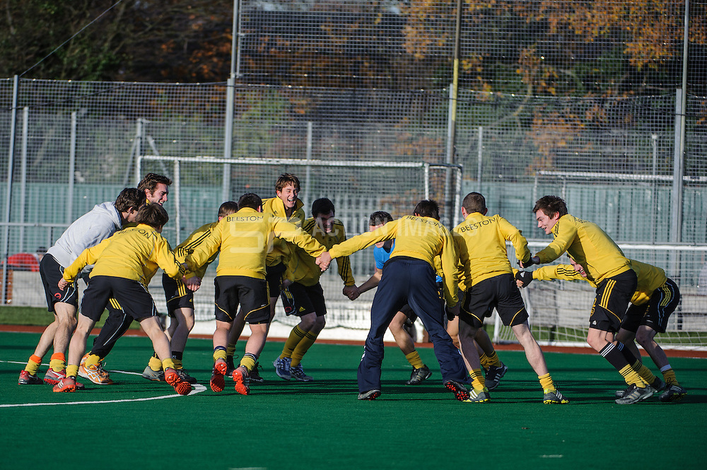 Beeston with an unusual warm up before their England Hockey Men's Cup match against Holcombe