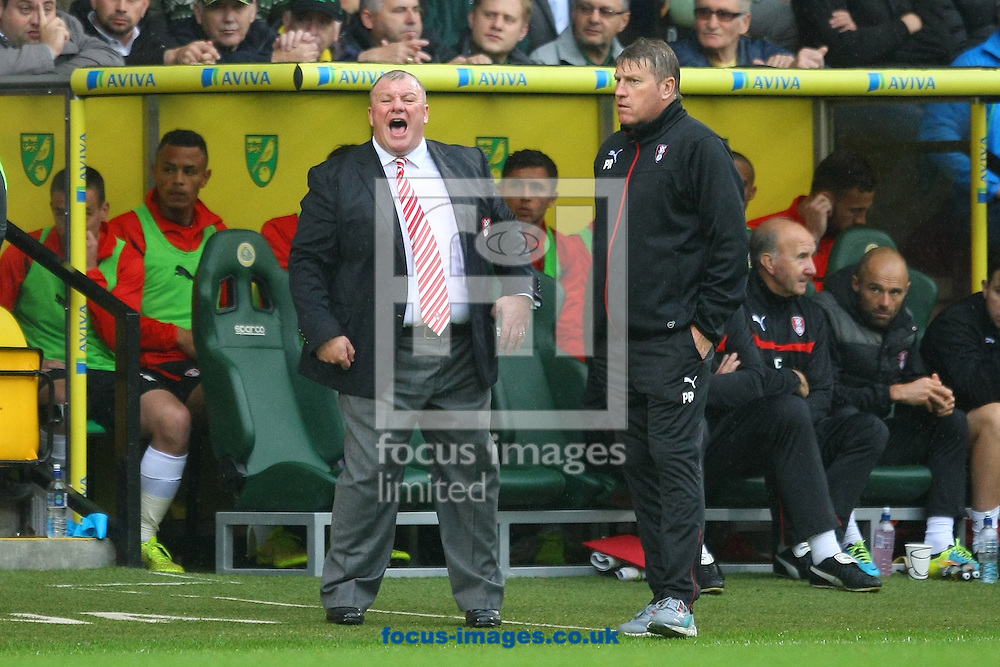 Rotherham United Manager Steve Evans and his Assistant Manager Paul Raynor during the Sky Bet Championship match at Carrow Road, Norwich<br /> Picture by Paul Chesterton/Focus Images Ltd +44 7904 640267<br /> 04/10/2014