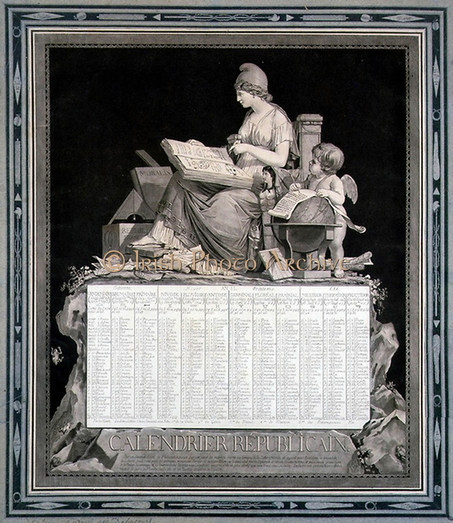 French Republican Calendar for 1794 (Year III). Napoleon abolished this calendar with effect from l January 1806. Design by Louis Philibert Bebucourt (1755-1832), French painter and printmaker. Revolution Time Liberty Allegory