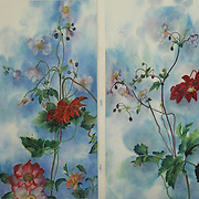 Red Dahlias, Roses and Japanese Anenome<br />