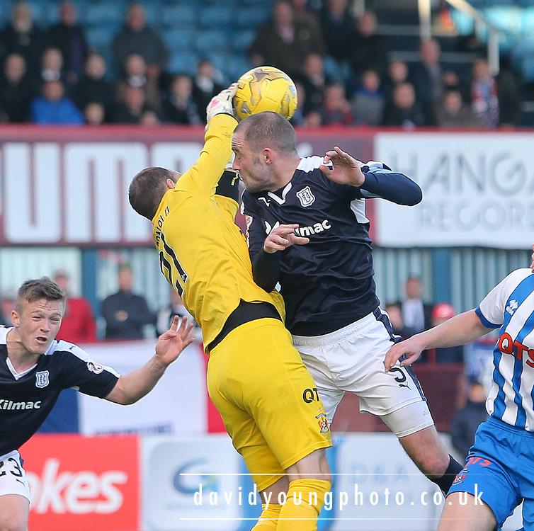 Kilmarnock&rsquo;s Jamie MacDonald denies Dundee&rsquo;s James McPake  - Dundee v Kilmarnock, Ladbrokes Premiership at Dens Park <br /> <br />  - &copy; David Young - www.davidyoungphoto.co.uk - email: davidyoungphoto@gmail.com