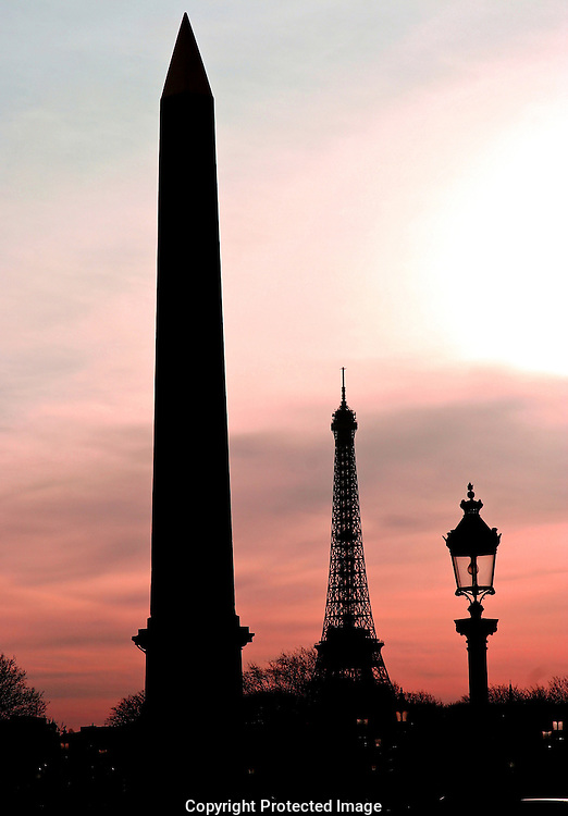 The Obelisk and Eiffel At Dusk