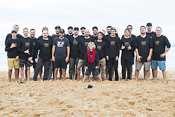 December 8, 2017 - Oahu, Hawaii, U.S. - - The Billabong team getting together at the opening ceremony of the Billabong Pipe Masters to wish Axel Irons a very happy birthday...Billabong Pipe Masters 2017, Hawaii, USA - 08 Dec 2017 (Credit Image: © WSL via ZUMA Wire/ZUMAPRESS.com)